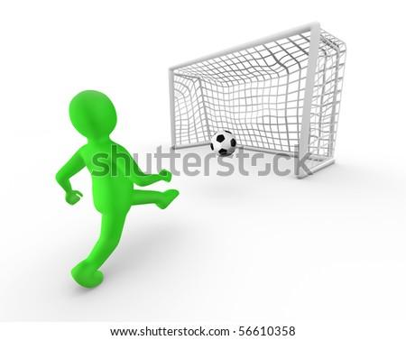 Green man kicking a ball into the goal - stock photo