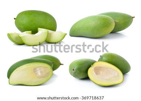 green mango on white background - stock photo