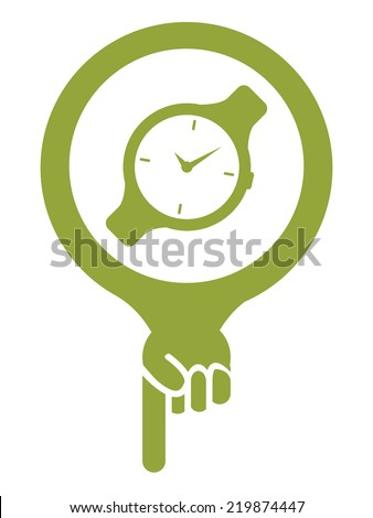 Green Map Pointer Icon With Hand Watch, Wristwatch, Fashion or Accessory Shop Sign Isolated on White Background  - stock photo