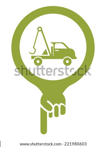 Green Map Pointer Icon With Tow Car, Roadside Assistance Service Sign Isolated on White Background  - stock photo