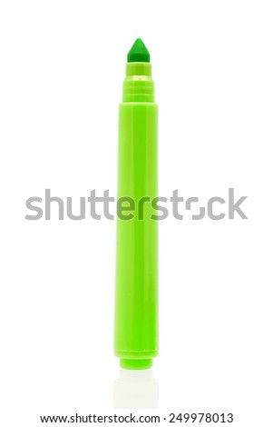Green marker isolated on white background  - stock photo