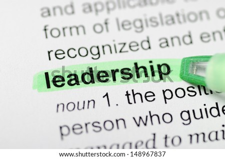 Green marker on leadership word  - stock photo