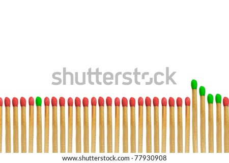 Green matchstick leadership concept isolated on white background - stock photo