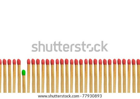 Green matchstick loser concept isolated on white background - stock photo