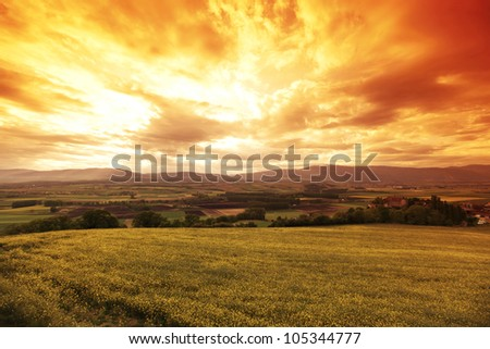 Green meadow under sunset sky with clouds - stock photo