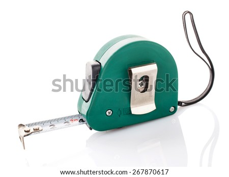 green measuring tape for tool roulette  on white background - stock photo