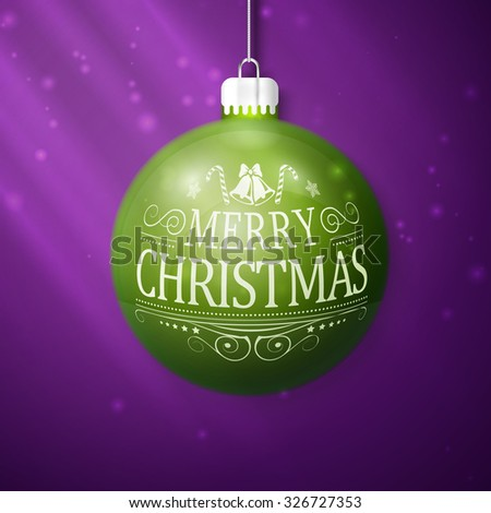 green merry christmas ball isolated on violet background - stock photo