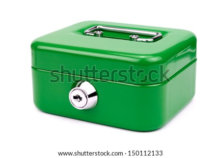 Green metal cash box isolated on white background. - stock photo