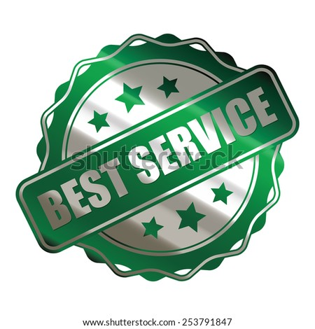 green metallic best service sticker, banner, sign, icon, label isolated on white - stock photo