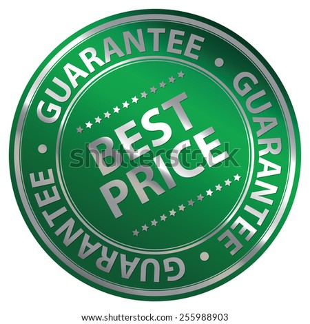 Green Metallic Circle Best Price Guarantee Icon, Label, Banner, Tag or Sticker Isolated on White Background  - stock photo