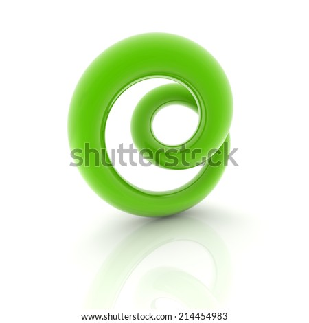 green metallic curve surface shape on white background - stock photo