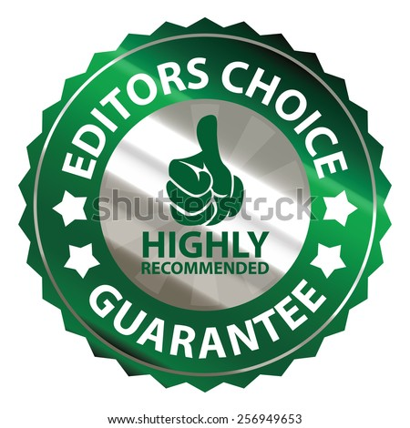 green metallic editors choice guarantee highly recommended sticker, sign, badge, icon, label isolated on white - stock photo