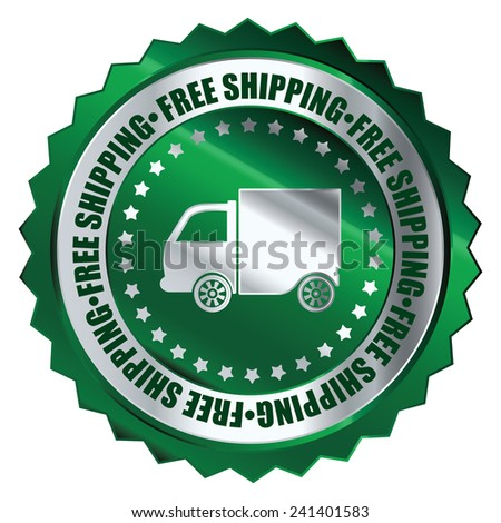 Green metallic free shipping icon, tag, label, badge, sign, sticker isolated on white  - stock photo