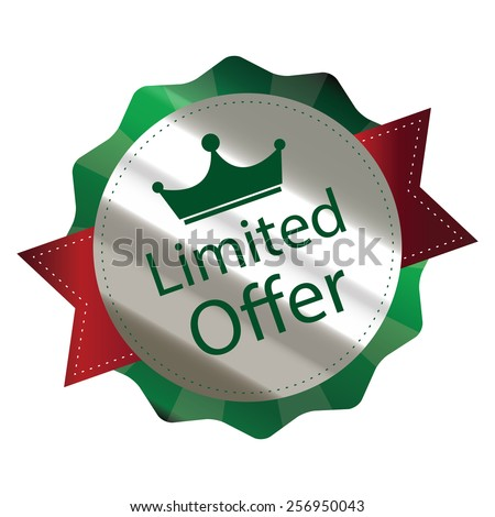 green metallic limited offer sticker, sign, badge, icon, label isolated on white - stock photo