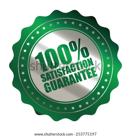 green metallic 100% satisfaction guarantee icon, tag, label, badge, sign, sticker isolated on white  - stock photo
