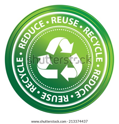 Green Metallic Style Reduce, Reuse and Recycle Icon, Badge, Label or Sticker for Save The Earth, Conservation or Recycle Concept Isolated on White Background  - stock photo