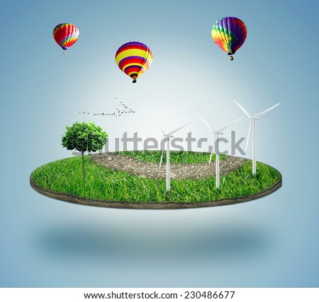 Green micro world, green earth with wind energy turbines installed on it. Sustainable source of electricity, power supply concept. Eco, environmentally friendly technology approach - stock photo
