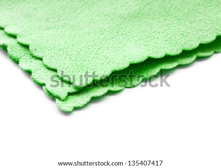 Green microfiber duster isolated on white. - stock photo
