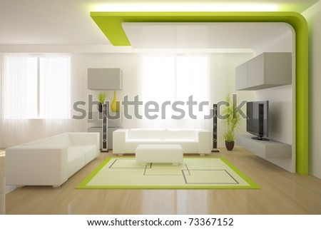 green modern interior - stock photo