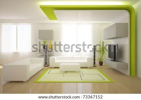 green modern interior - stock photo