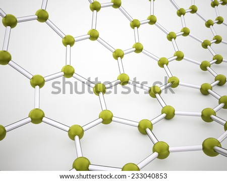 Green molecular mesh structure rendered - stock photo