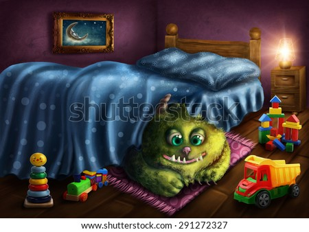 Green monster under the bed - stock photo
