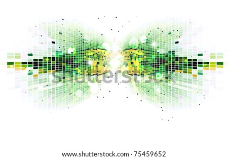 Green mosaic background.Vector version available in my gallery. - stock photo