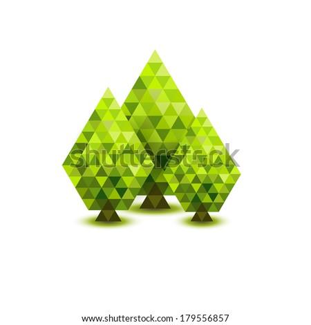 Green mosaic trees - stock photo