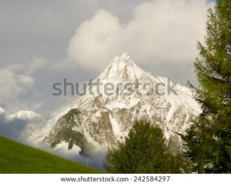 green mountain meadow in front of a snowy mountain - stock photo