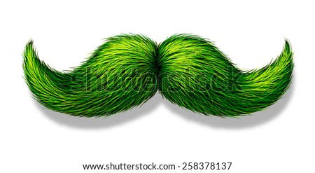 Green moustache or mustache on a white background with a shadow as a symbol for spring and nature or saint patricks day celebration or a vegetarian design element. - stock photo