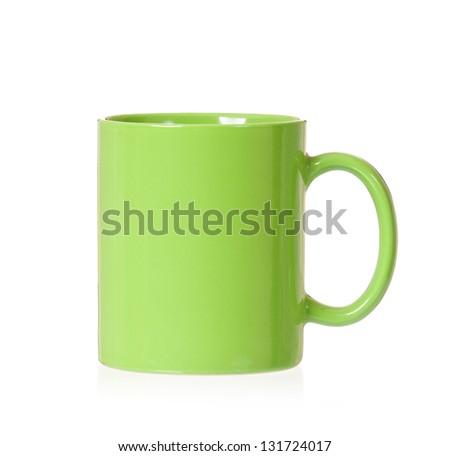 Green mug empty blank, isolated on white background - stock photo
