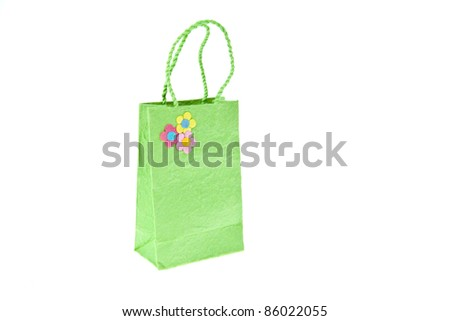 Green mulberry paper bag isolated on white background - stock photo