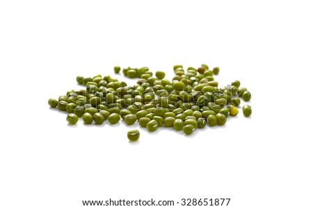 Green mung beans isolated on white background - stock photo