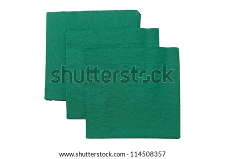 green napkins isolated on a white background - stock photo