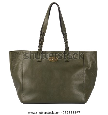Green natural leather female purse isolated on white background - stock photo
