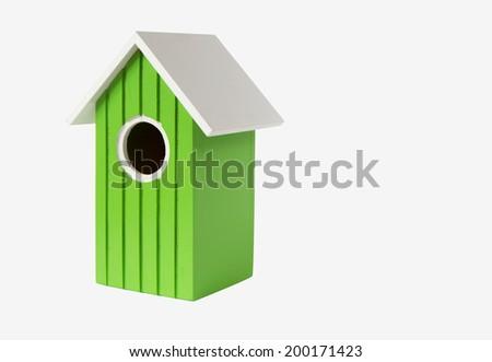 green nest box birdhouse house for birds isolated on white background - stock photo