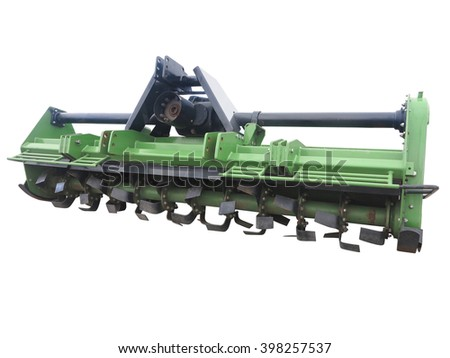 Green new farm cultivator plow for tractors isolated over white background - stock photo