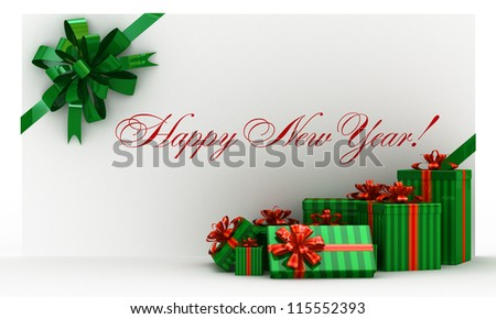 Green new-year postal, envelope with gifts and bow on white - stock photo