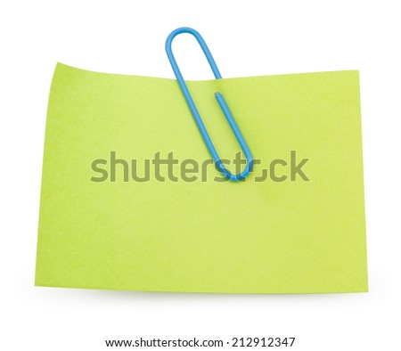 Green Note with blue paper clip isolated clipping path - stock photo