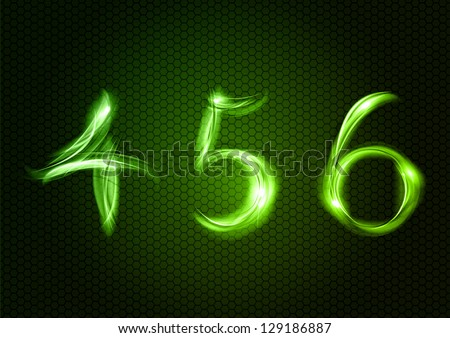 Green numbers FOUR, FIVE, SIX. - stock photo