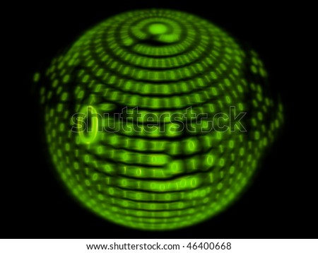 green numbers on a black background - stock photo