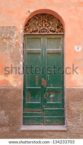 green old door, in an orange wall - stock photo