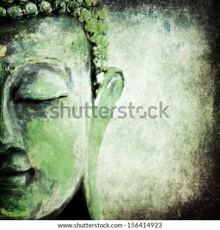 green old grunge buddha - stock photo