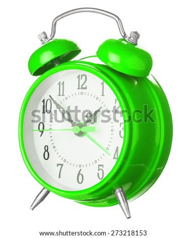 Green Old Style Alarm Clock Isolated On White - stock photo