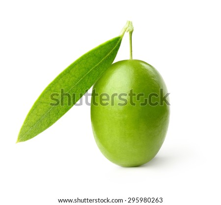 Green olive with leaves isolated on white - stock photo