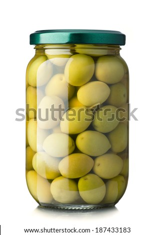 Green olives jar on a white background - stock photo