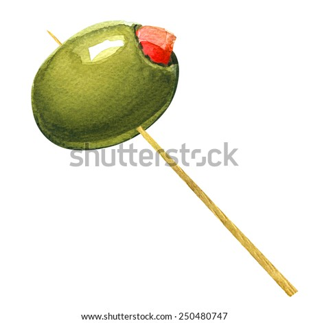 green olives stuffed with pepper on toothpick - stock photo