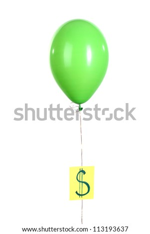Green one balloon with showing dollar isolated on white - stock photo