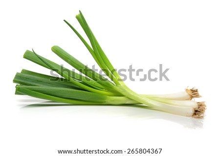 green onions (sometimes called shallots or scallions), isolated on white. - stock photo