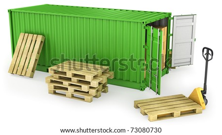 Green opened container and stack of wooden pallets, isolated on white background - stock photo